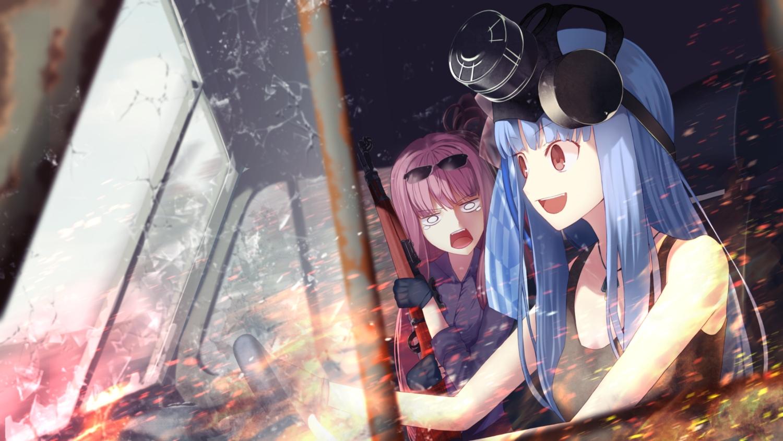 2girls blue_hair car glasses gloves gun kotonoha_akane kotonoha_aoi long_hair necklace pen_(pixiv257621) pink_eyes pink_hair twins voiceroid weapon