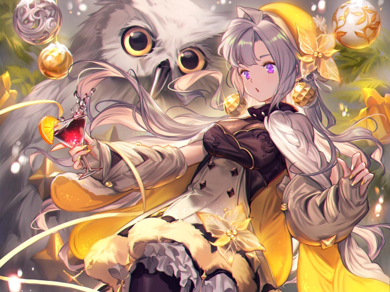 animal bird breasts christmas cleavage cropped dress drink food fruit gray_hair hat lee_hyeseung long_hair orange_(fruit) original owl pantyhose purple_eyes