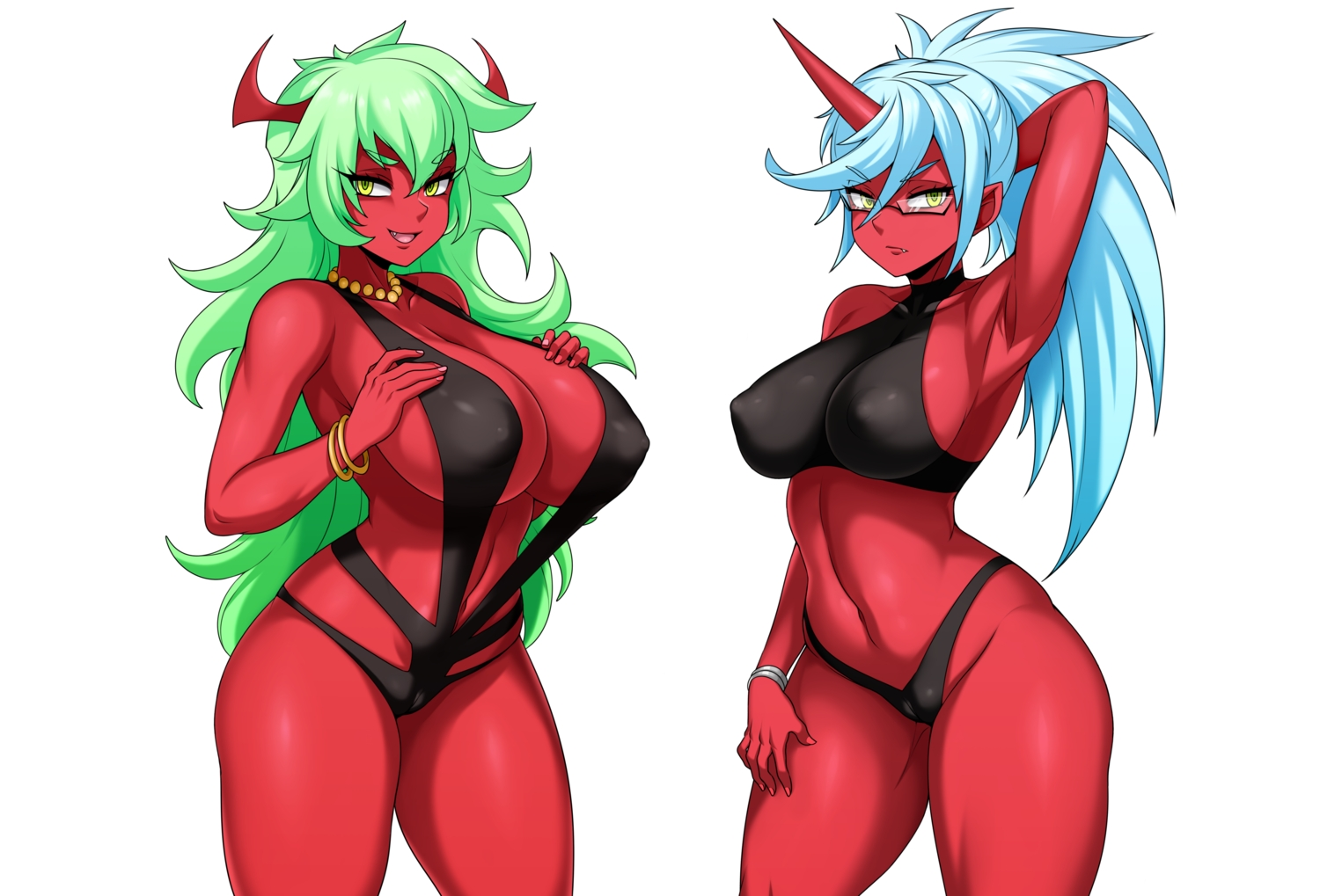 2girls aqua_hair bikini breast_hold breasts cameltoe cleavage demon erect_nipples fang glasses green_eyes green_hair horns jmg kneesocks_(character) long_hair necklace panty_&_stocking_with_garterbelt scanty sideboob swimsuit third-party_edit white wristwear