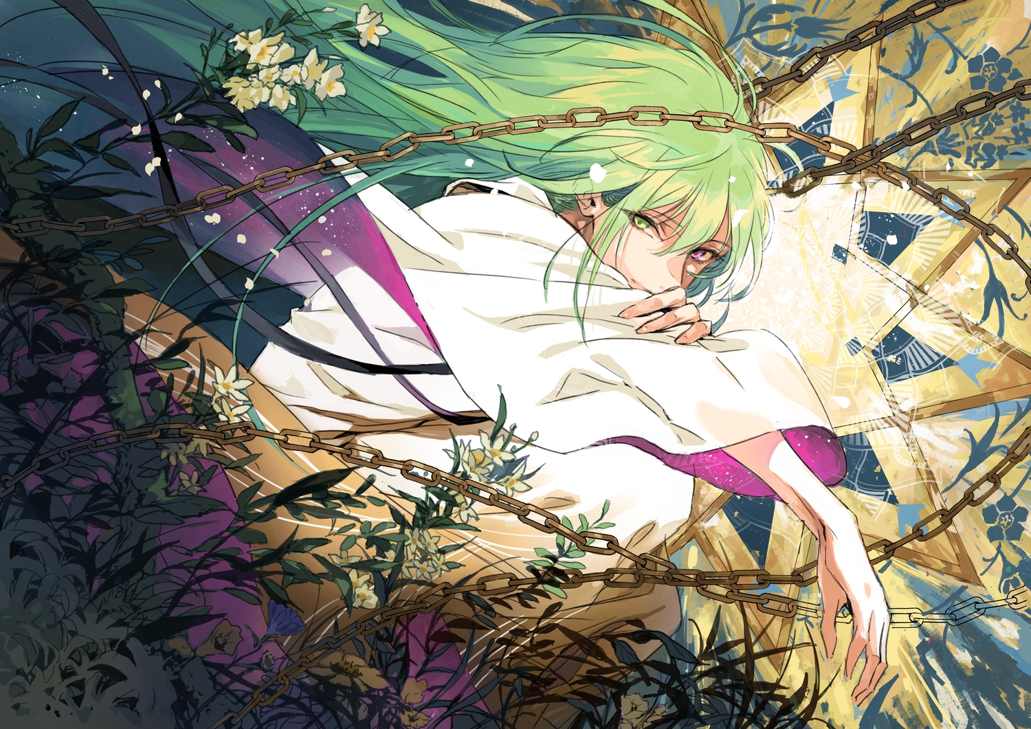 all_male bicolored_eyes chain enkidu fate/grand_order fate_(series) flowers green_hair leaves long_hair male seomouse