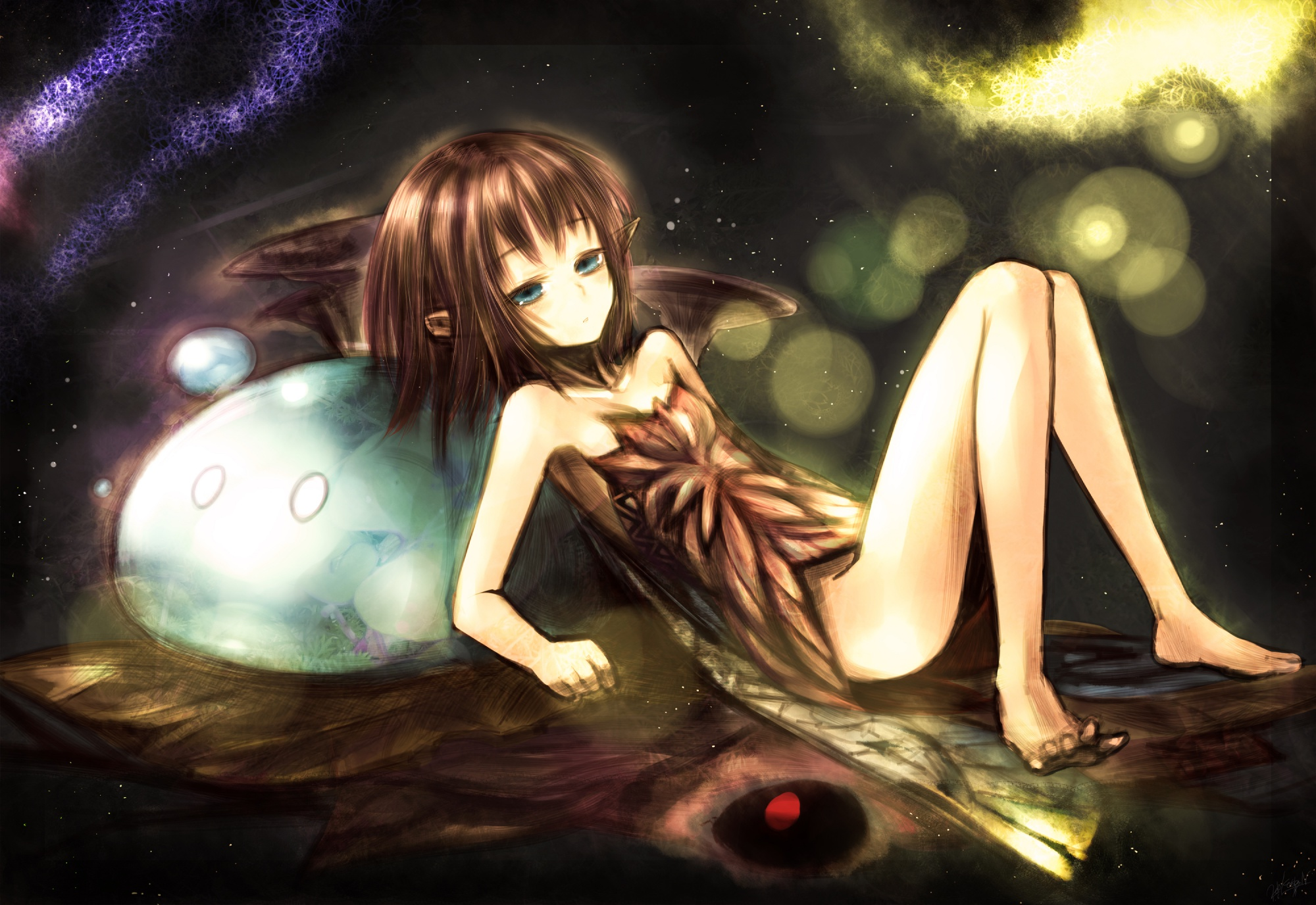 barefoot blue_eyes brown_hair elf kotoba_noriaki nopan original short_hair space