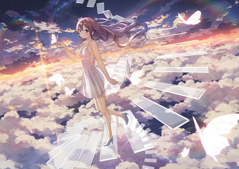 blush brown_hair butterfly clouds dress kantoku kurumi_(kantoku) long_hair original panties purple_eyes see_through sky stairs underwear