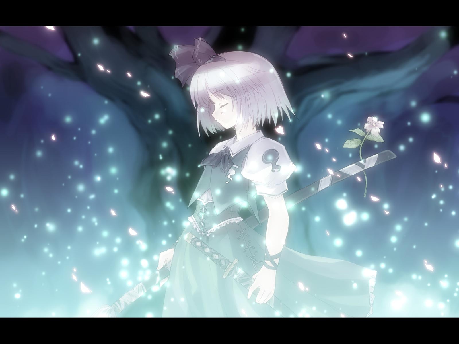 blonde_hair bow flowers katana konpaku_youmu rose sword tokiame touhou weapon