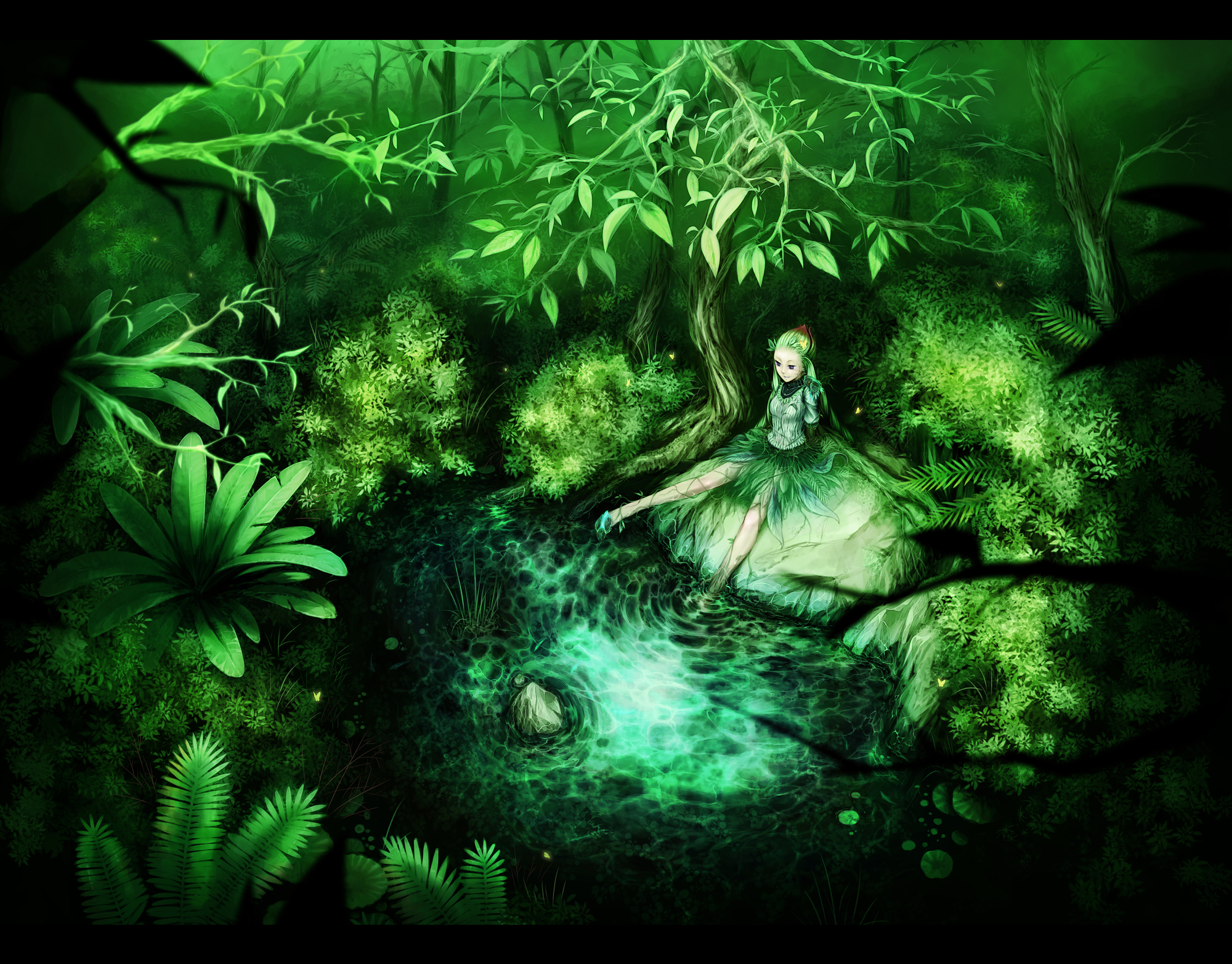 barefoot butterfly forest green green_hair tagme tree un water