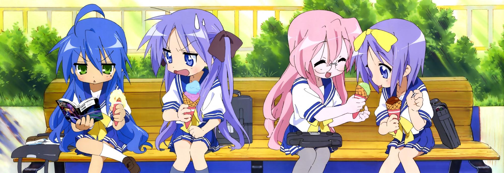 dualscreen hiiragi_kagami hiiragi_tsukasa izumi_konata lucky_star school_uniform takara_miyuki yamada_naoko