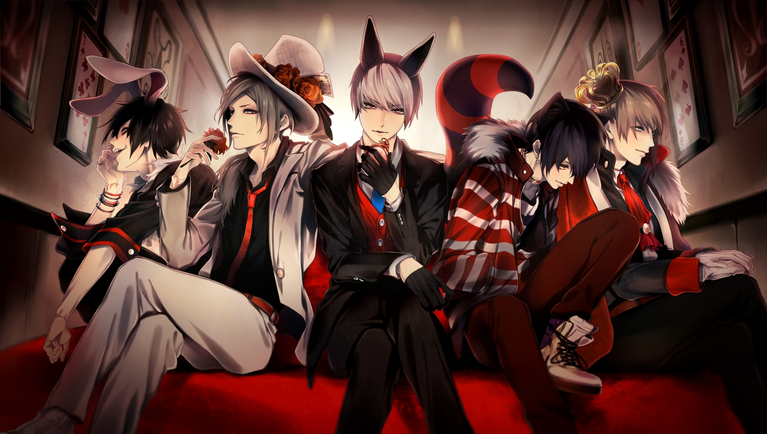 alice_in_wonderland all_male animal_ears anthropomorphism asarai black_hair blonde_hair blue_eyes boots bunny_ears catboy cheshire_cat collar fang flowers genderswap gloves gray_hair group hat mad_hatter male original purple_eyes queen_of_hearts short_hair tagme_(character) tail tie white_rabbit wristwear