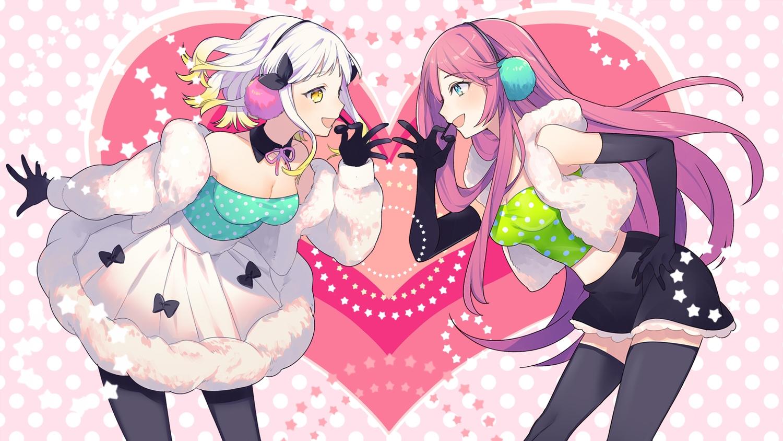 2girls crossover elbow_gloves gloves happy_synthesizer_(vocaloid) headphones megurine_luka sogawa66 thighhighs vocaloid yuzuha_(channel) yuzuha_(yuzuha_virtual)
