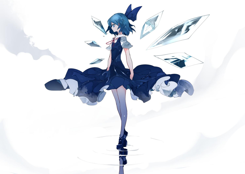 blue_eyes blue_hair cirno dress fairy ikurauni reflection short_hair touhou wings