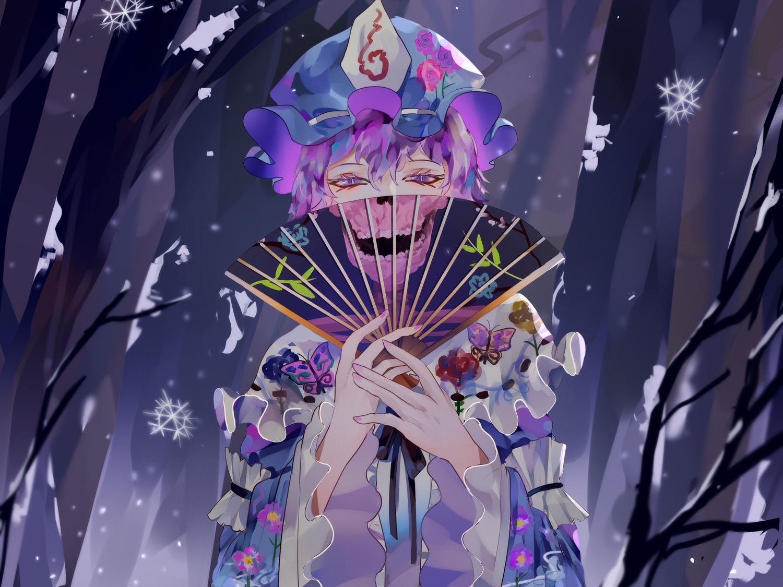 fan forest hat japanese_clothes kimono lolita_fashion naufaldreamer purple_eyes purple_hair saigyouji_yuyuko short_hair skull touhou tree