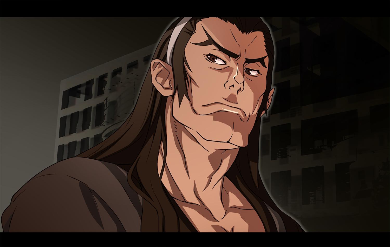 all_male brown_eyes brown_hair dramaturgie headband kizumonogatari long_hair male monogatari_(series) nyoronyoro waifu2x