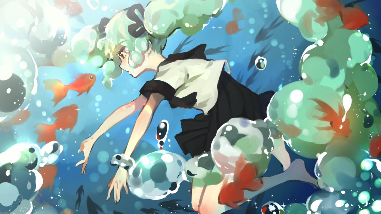 animal bottle_miku fish hatsune_miku school_uniform twintails vocaloid water yuzhi