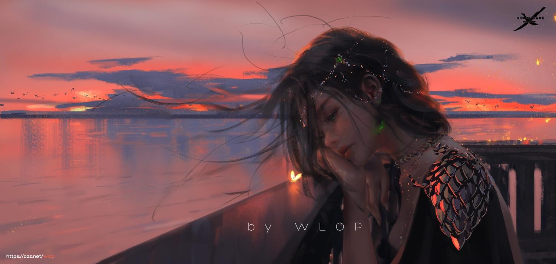 close ghostblade princess_aeolian realistic reflection sunset watermark wlop