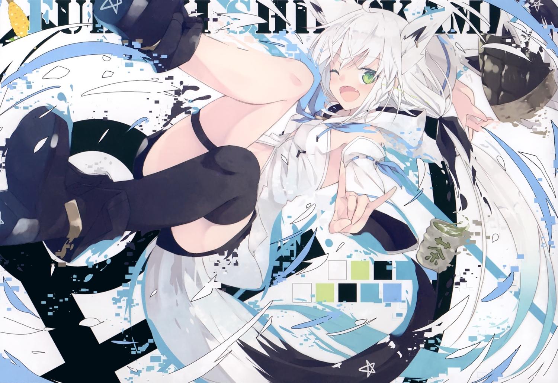 animal_ears foxgirl hololive nagishiro_mito scan shirakami_fubuki
