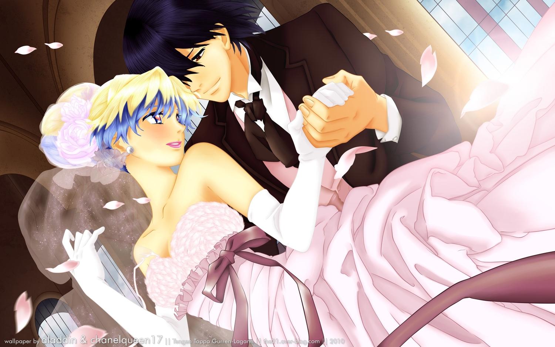 blue_hair brown_eyes dress elbow_gloves gloves jpeg_artifacts male nia_teppelin petals ribbons short_hair simon tagme_(artist) tengen_toppa_gurren_lagann watermark wedding wedding_attire