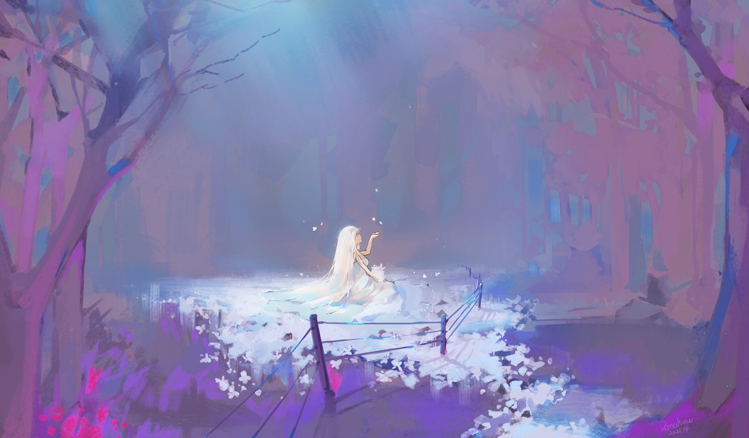 butterfly dress forest hmw_(pixiv7054584) long_hair original polychromatic tree white_hair