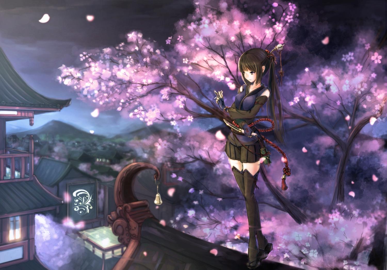 black_hair building cherry_blossoms flowers gloves kikivi knife night ninja original petals ponytail skirt thighhighs