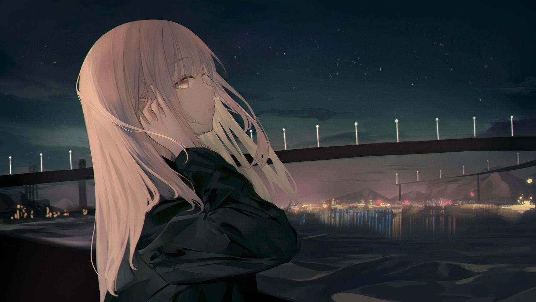 blonde_hair building city close clouds dark long_hair neiless_neiro night original sky stars water yellow_eyes