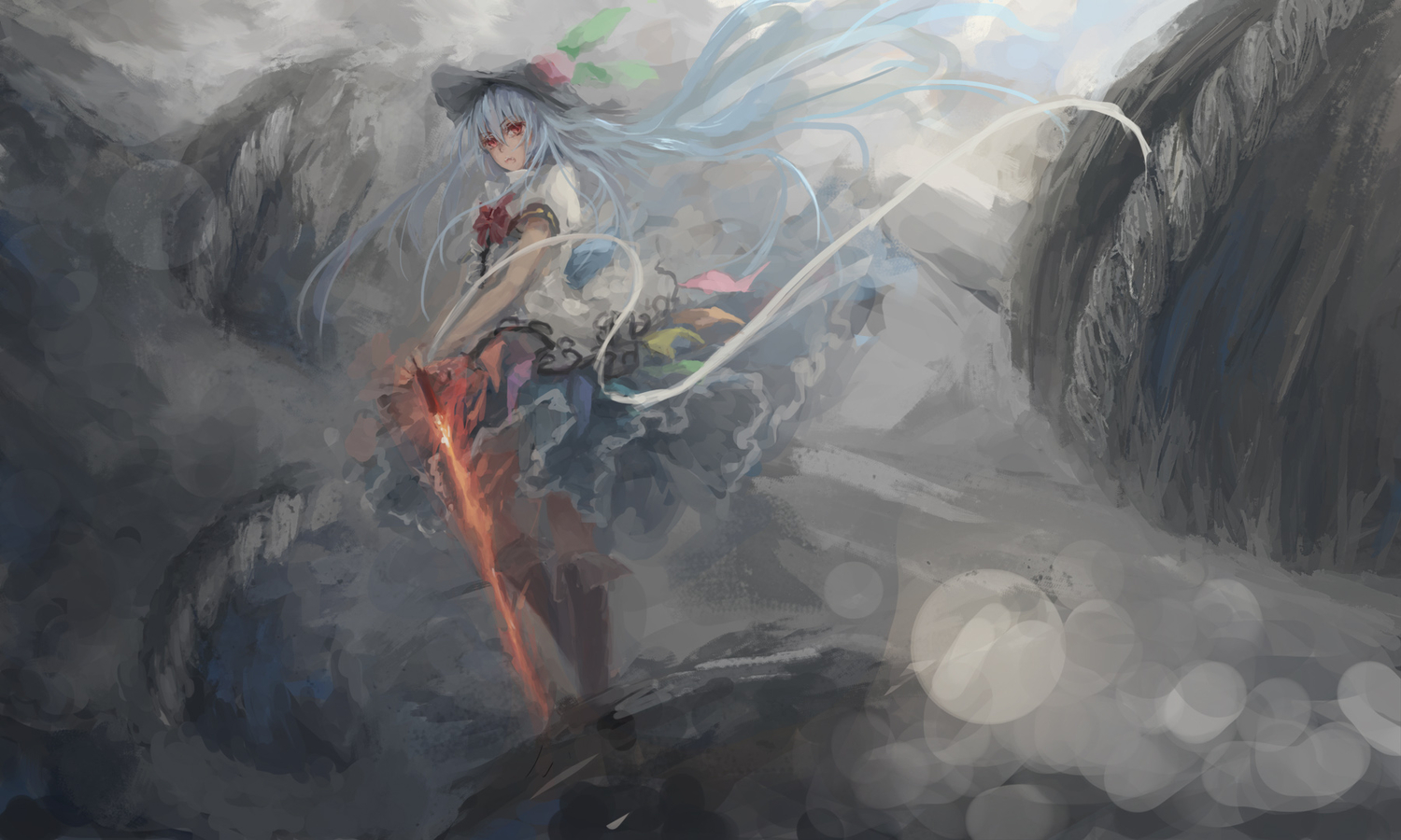 hinanawi_tenshi long_hair sword touhou weapon zatsuon