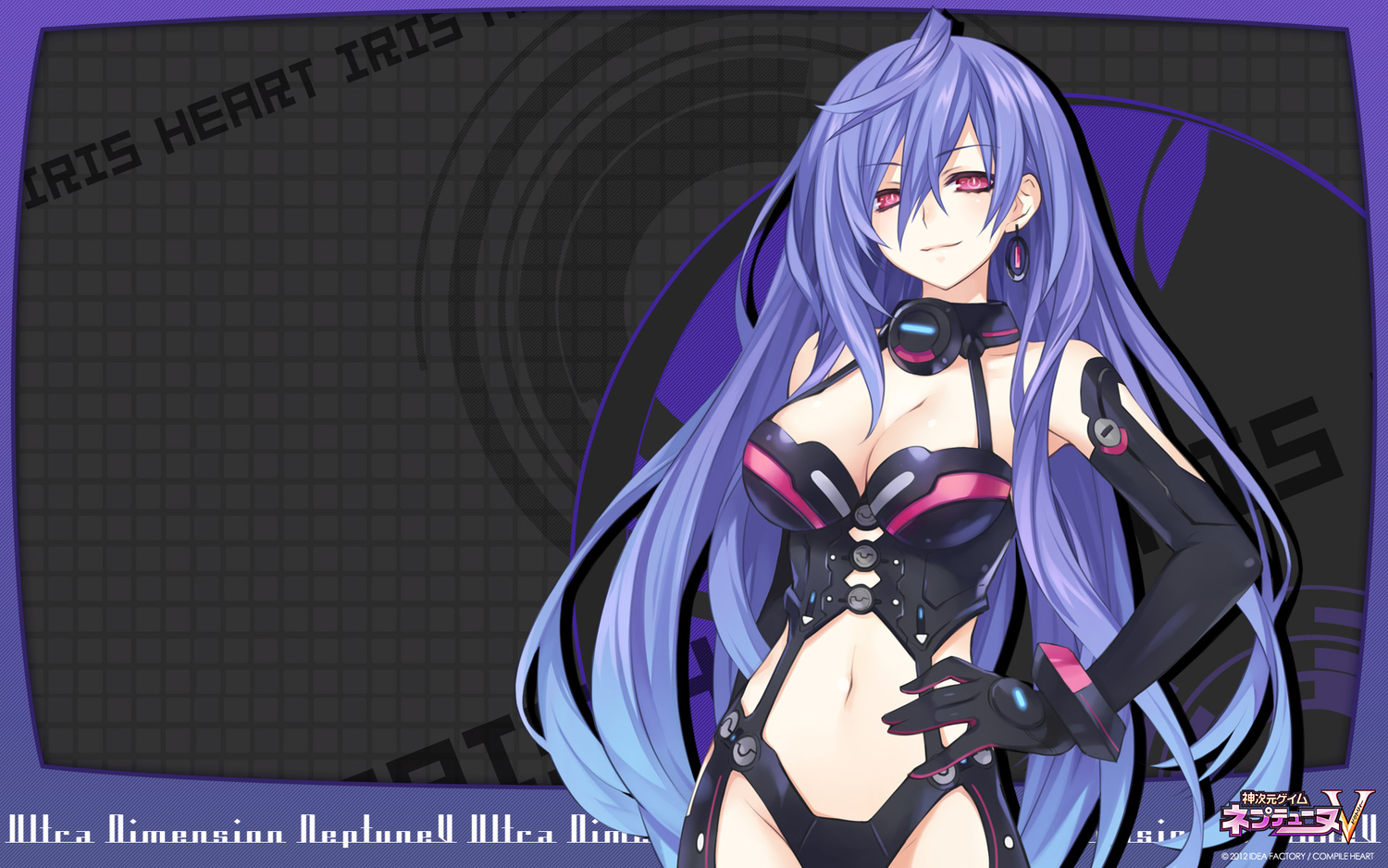 cleavage hyperdimension_neptunia iris_heart purple_hair pururut red_eyes tsunako