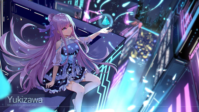 bow building city dress long_hair original petals purple_eyes purple_hair ribbons thighhighs watermark yukizawa_xueze