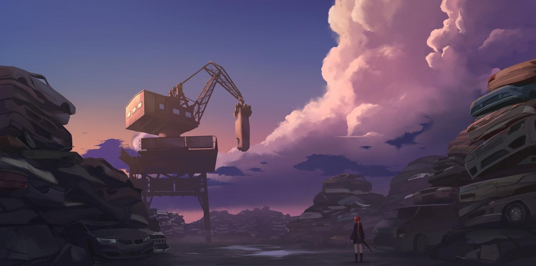 car clouds gan-viking hoodie industrial long_hair original ponytail red_hair sky sunset