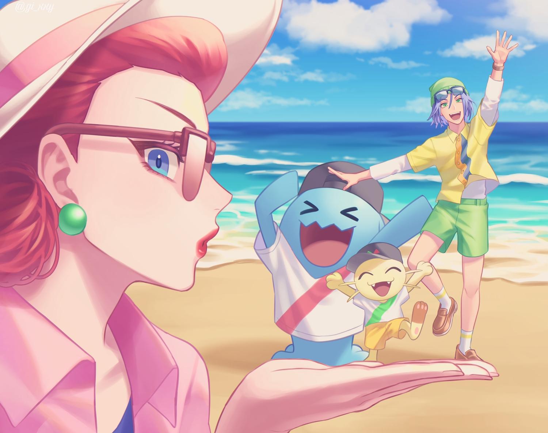 beach blue_eyes blue_hair close gi_xxy glasses green_eyes hat kojiro_(pokemon) male meowth musashi_(pokemon) pokemon red_hair shorts socks water watermark wobbuffet wristwear