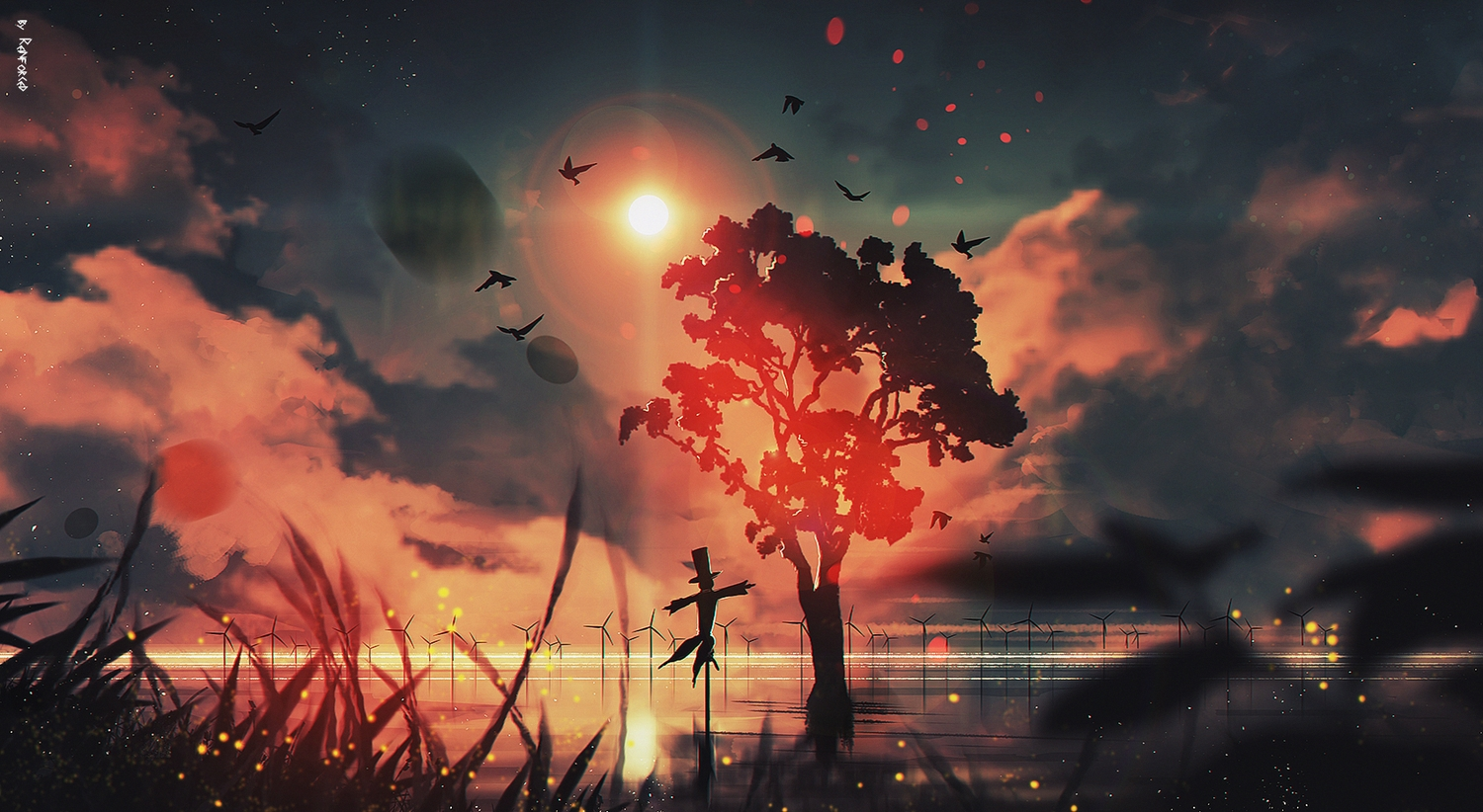 animal bird clouds grass nobody original reflection reinforced scenic signed silhouette sky sunset tree water windmill
