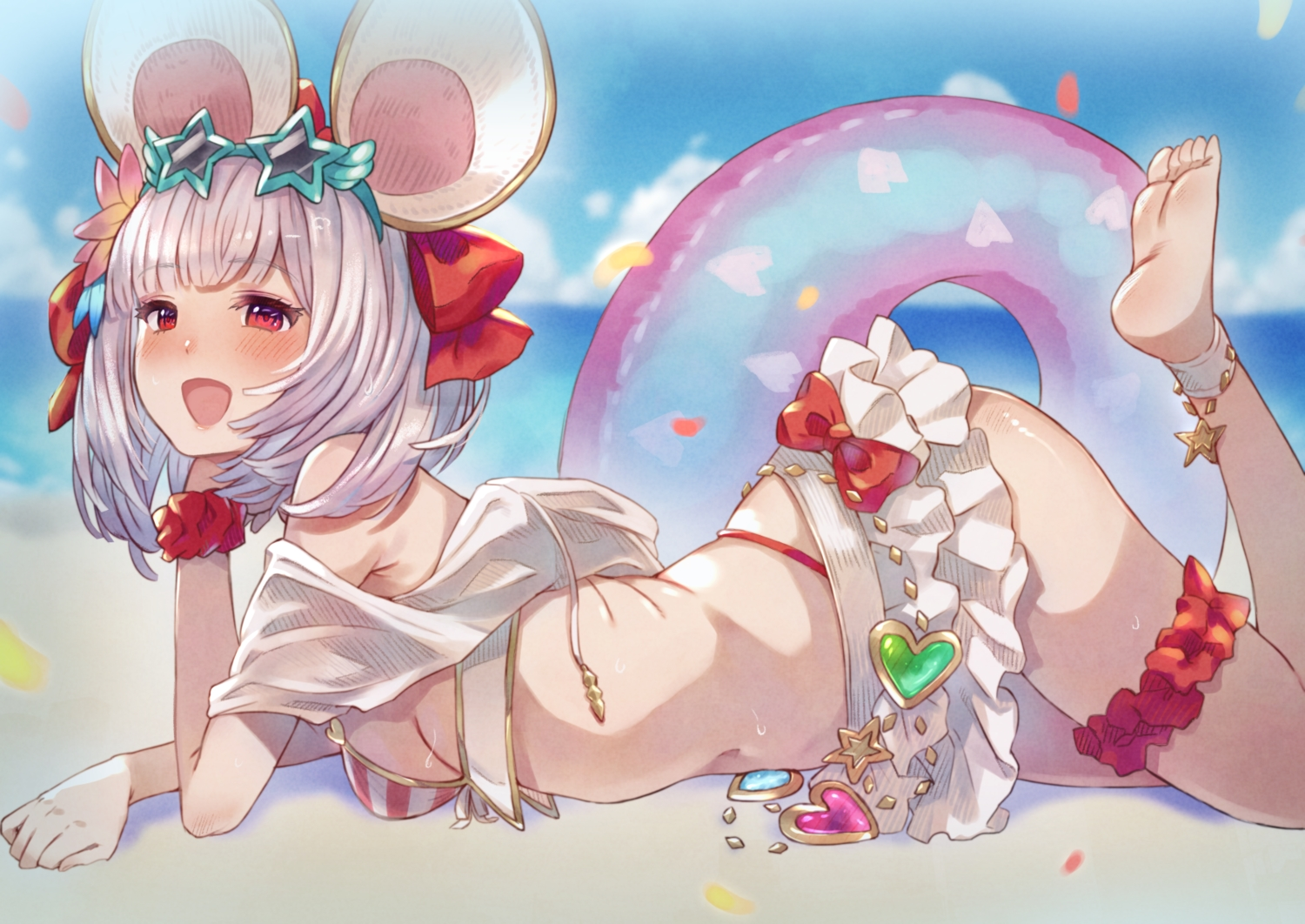 animal_ears barefoot beach bikini blush bow breasts clouds eichan_(eichanidfi) garter granblue_fantasy gray_hair mousegirl navel red_eyes short_hair sideboob skirt sky sunglasses swim_ring swimsuit vikala_(granblue_fantasy) water wristwear