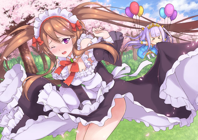 aliasing cherry_blossoms chibi flowers grass maid moonhackle myuseru_foaran outbreak_company petralka_anne_eldant_iii skirt_lift