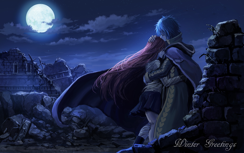 blue blue_hair cape clouds erza_scarlet fairy_tail hug jellal_fernandes male moon natuchobi red_hair ruins short_hair skirt sky stars