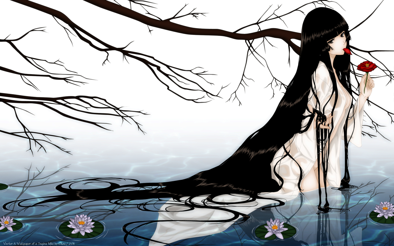 brown_eyes brown_hair cleavage flowers kara_no_shoujo long_hair nopan open_shirt petals rose sugina_miki tagme_(character) tree water watermark