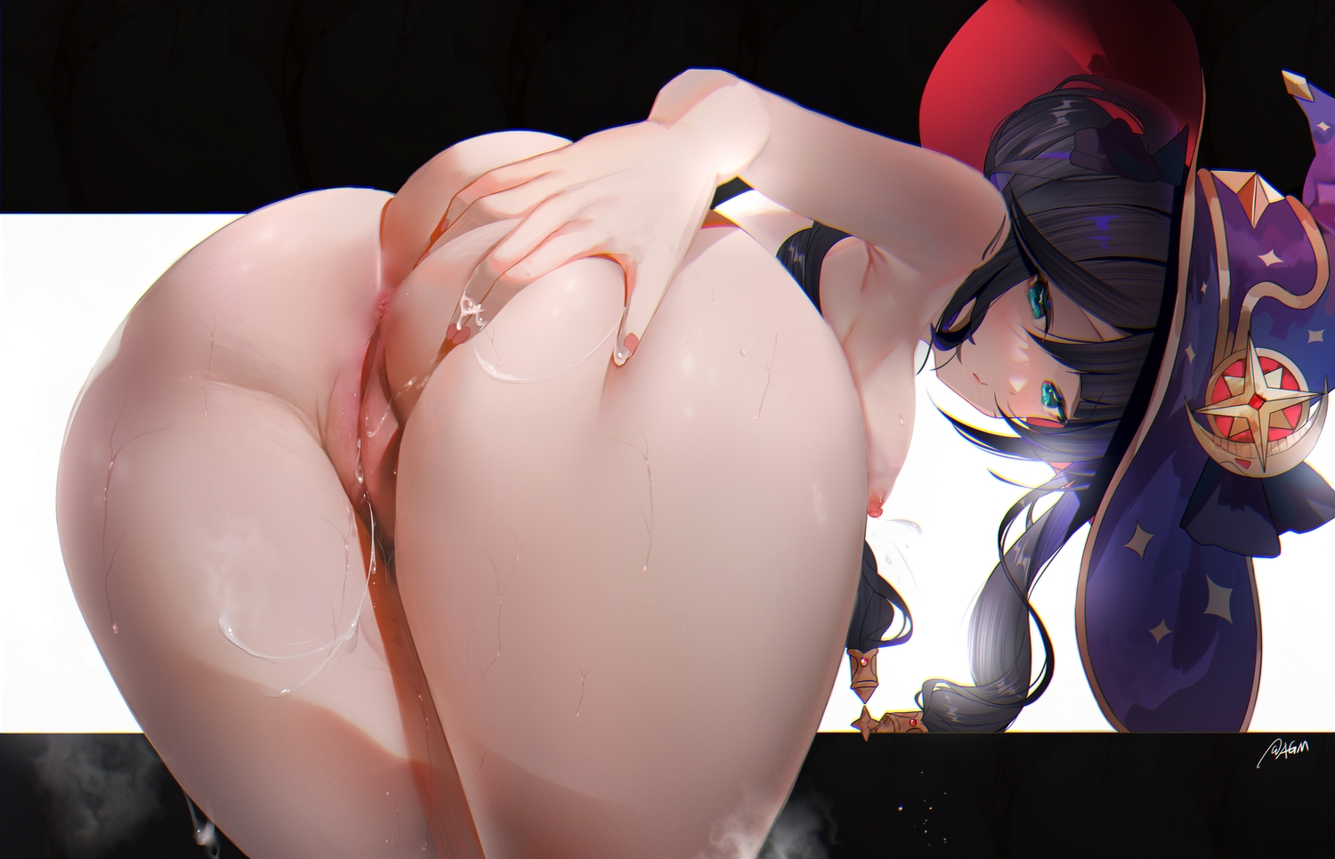 anus ass ass_grab black_hair blush breasts genshin_impact hat mona_(genshin_impact) nipples nude omone_hokoma_agm pussy pussy_juice signed twintails uncensored witch_hat