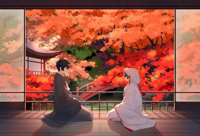 autumn black_hair brown_hair building catcan forest hoodie japanese_clothes kimono kougami_shinya male psycho-pass short_hair tree tsunemori_akane water wedding_attire