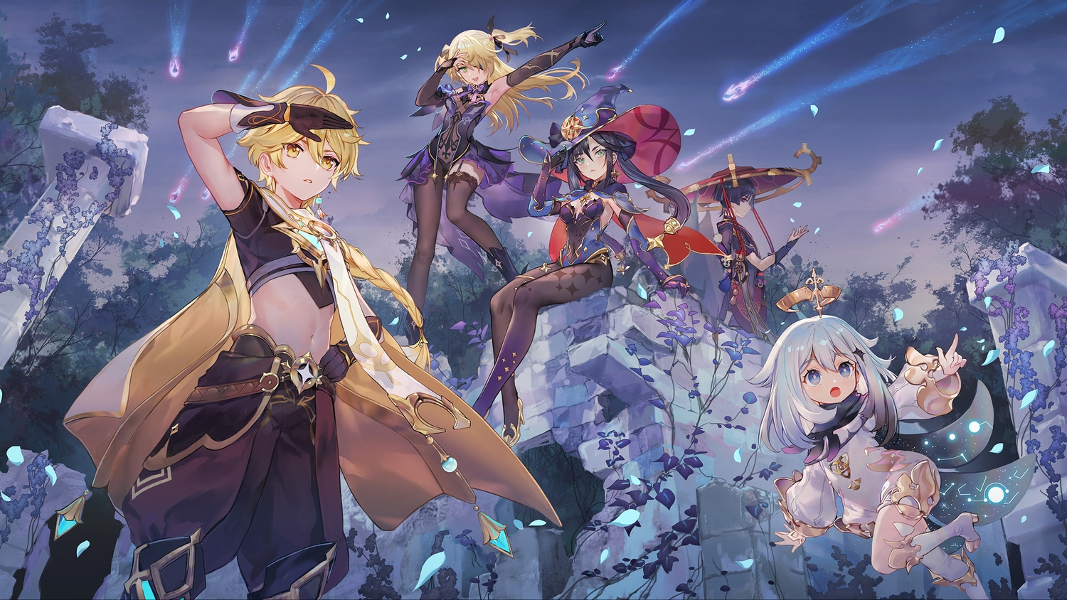 aether_(genshin_impact) black_eyes black_hair blonde_hair blue_eyes bow criin_(659503) dress elbow_gloves fischl_(genshin_impact) genshin_impact gloves green_eyes group halo hat loli long_hair male mona_(genshin_impact) necklace night paimon_(genshin_impact) pantyhose petals ruins scaramouche_(genshin_impact) short_hair sky stockings tree twintails white_hair yellow_eyes