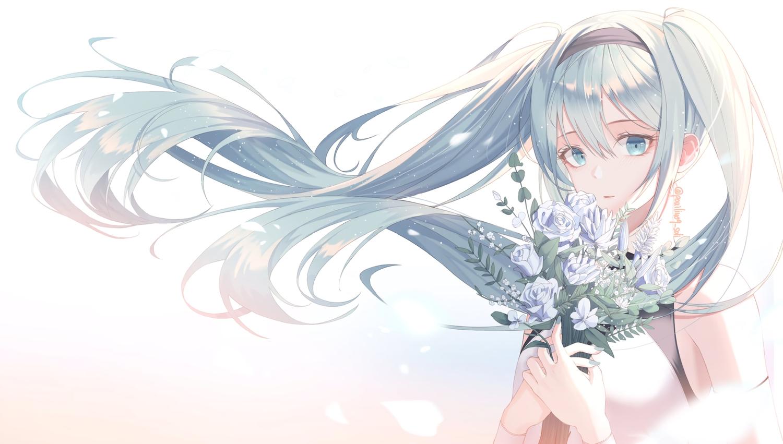 aqua_eyes aqua_hair flowers hatsune_miku long_hair rose signed soli_(pouiliuoq_soli) twintails vocaloid