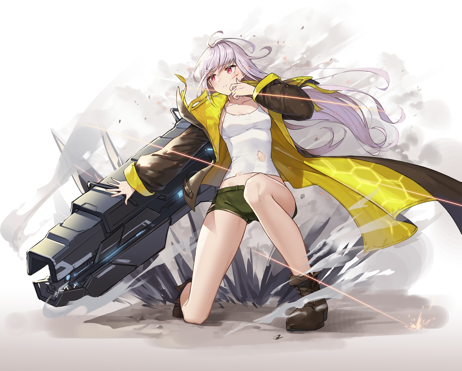 aliceblue boots gray_hair gun last_origin long_hair pink_eyes shorts signed torn_clothes weapon x-05_emily