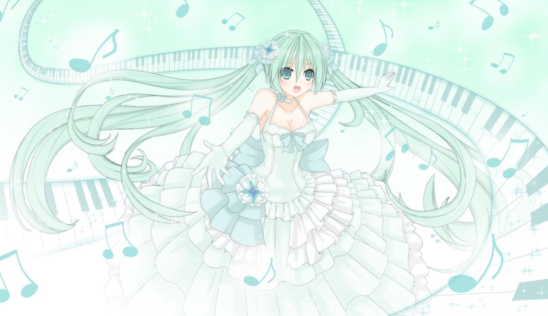 dress green_eyes green_hair hatsune_miku long_hair polychromatic tsu-kaze twintails vocaloid