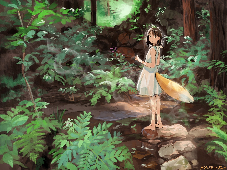 barefoot brown_eyes brown_hair dress forest original short_hair signed tail tree umishima_senbon