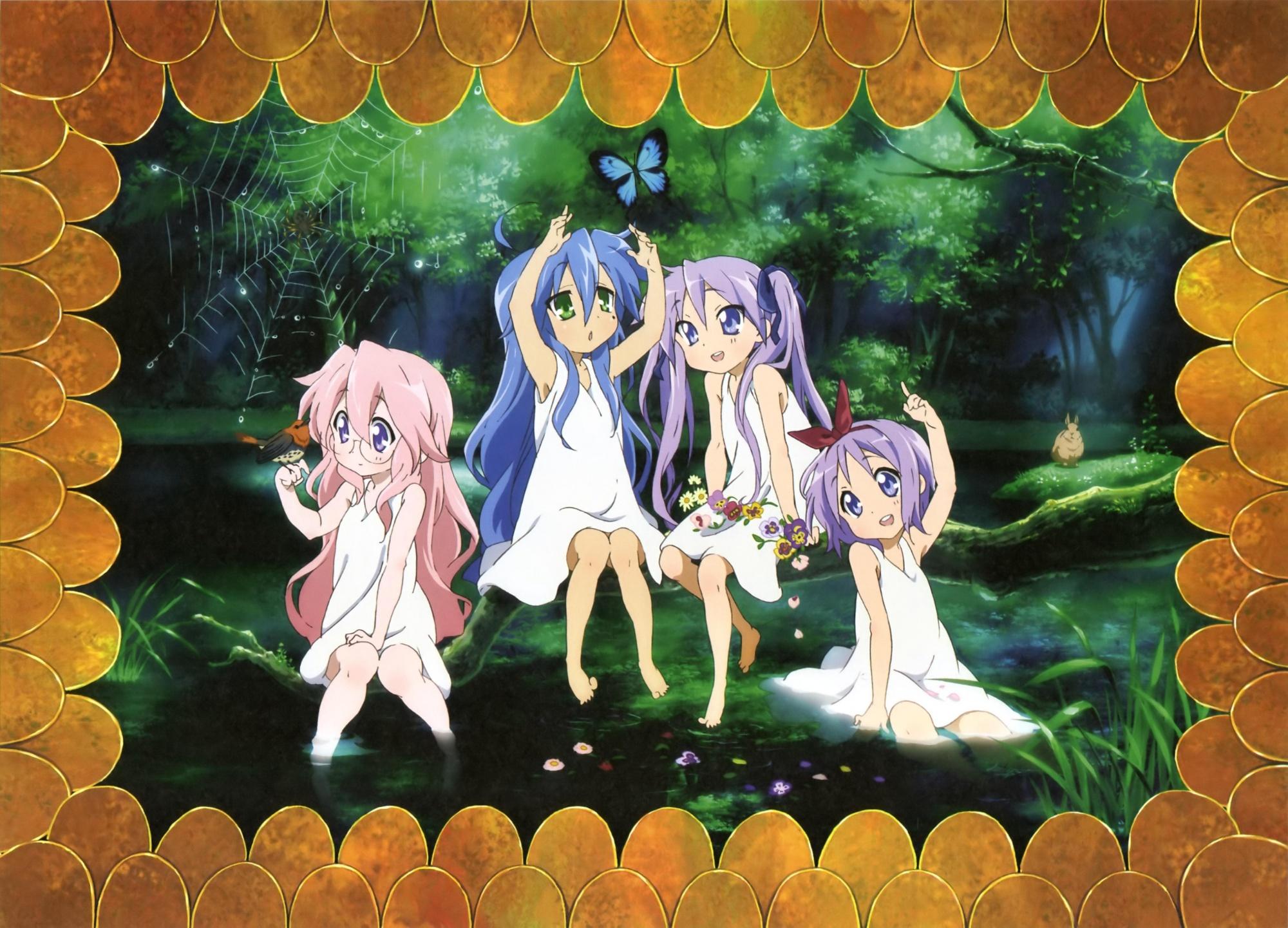 butterfly hiiragi_kagami hiiragi_tsukasa izumi_konata lucky_star scan takara_miyuki