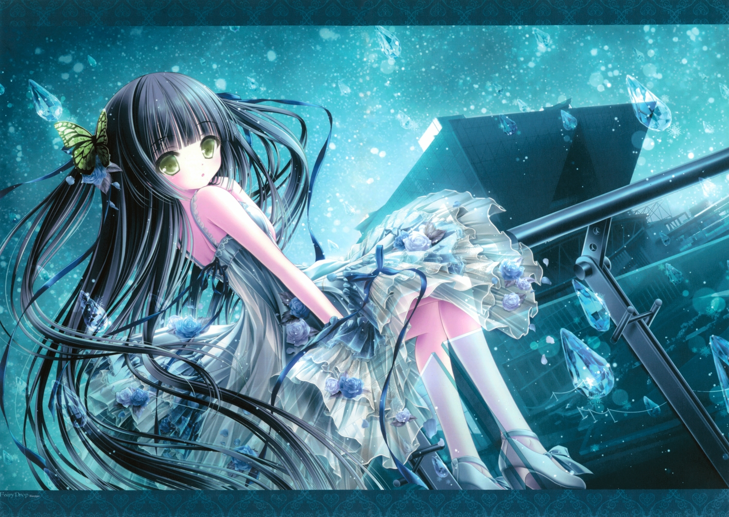 building butterfly dress flowers green_eyes loli rose see_through summer_dress tinkle