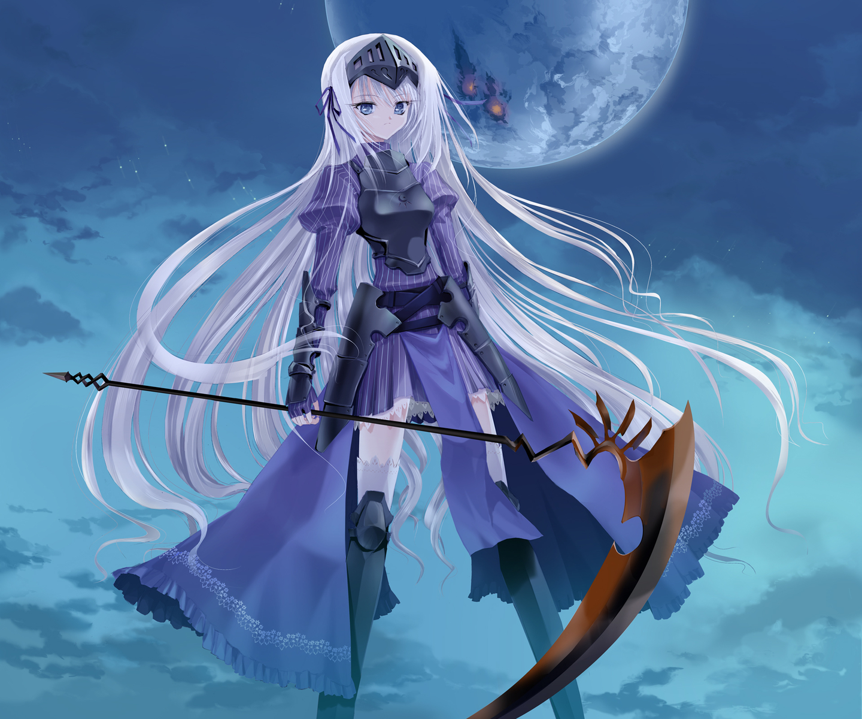 armor blue_eyes eucliwood_hellscythe jajanuba kore_wa_zombie_desu_ka? long_hair moon scythe weapon white_hair
