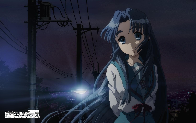 asakura_ryouko blue_eyes blue_hair bow building city night school_uniform suzumiya_haruhi_no_yuutsu tagme_(artist) watermark