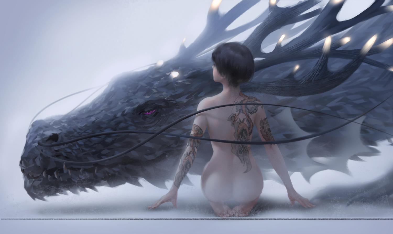 black_hair dragon ghostblade jade_(ghostblade) nude short_hair tattoo wlop