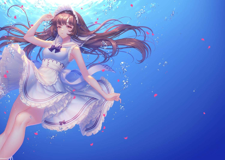 apron brown_eyes brown_hair gradient headdress long_hair maid original sakura_shiho_(shihoncake) skirt_lift underwater water