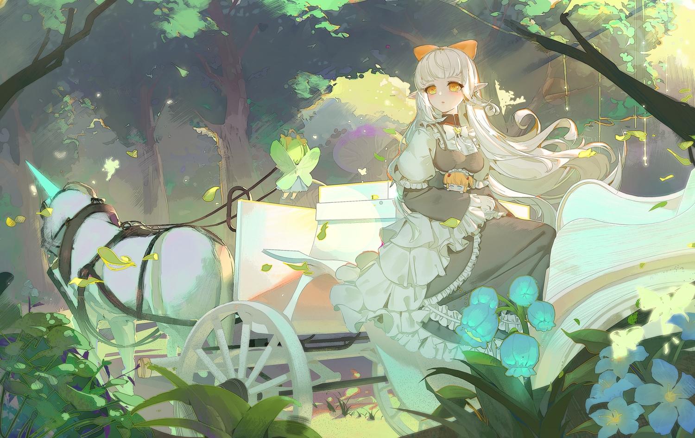 a_dream animal bow dress fairy flowers forest horse long_hair orange_eyes original tree unicorn white_hair