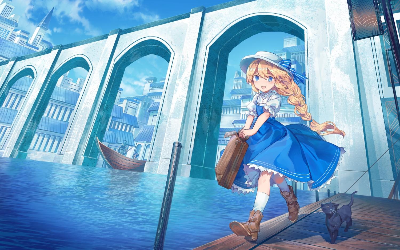 animal aqua_eyes boat boots bow braids building cat city clouds dress hat kneehighs original ponytail shichigatsu sky water