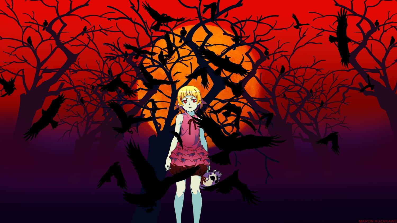 animal bakemonogatari bird blonde_hair dark kizumonogatari kuzakawe_maron loli monogatari_(series) oshino_shinobu red_eyes skull tree vampire
