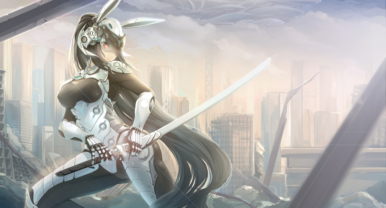 aliasing black_hair bodysuit breasts building cameltoe city clouds erect_nipples katana kikivi long_hair original sky sword weapon
