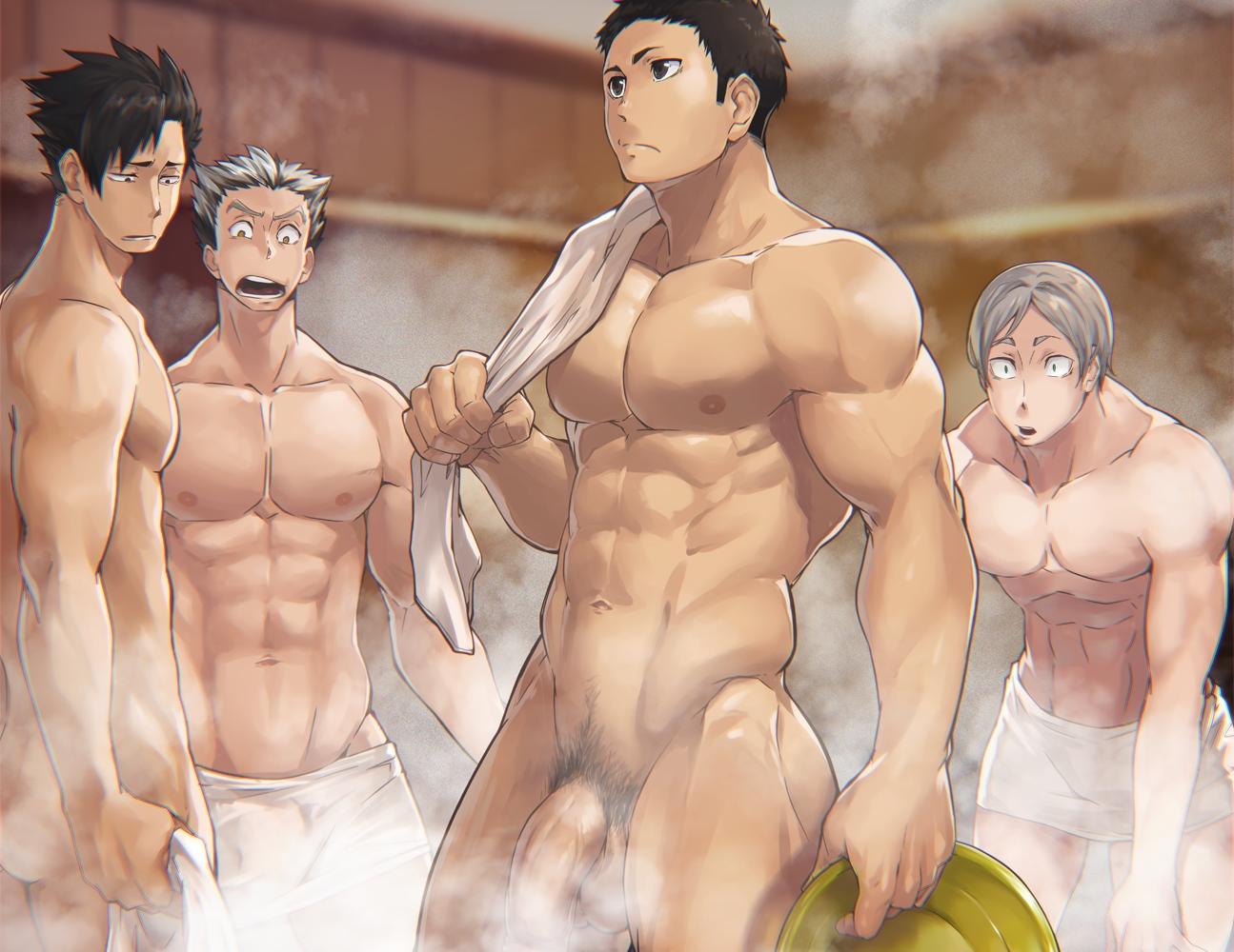 8_(yamalu) all_male black_hair bokuto_koutarou cropped gray_hair group haikyuu!! kuroo_tetsuro male navel nipples nude penis pubic_hair sawamura_daichi short_hair sugawara_koushi towel uncensored