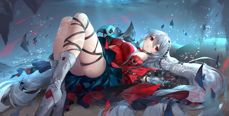 animal arknights boots dress fish gloves gray_hair kyurin long_hair red_eyes skadi_(arknights) underwater water